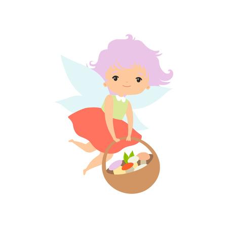 Little Forest Fairy Flying with Basket Full of Mushrooms, Lovely Fairy Girl Cartoon Character Vector Illustration on White Background. Stock Illustratie