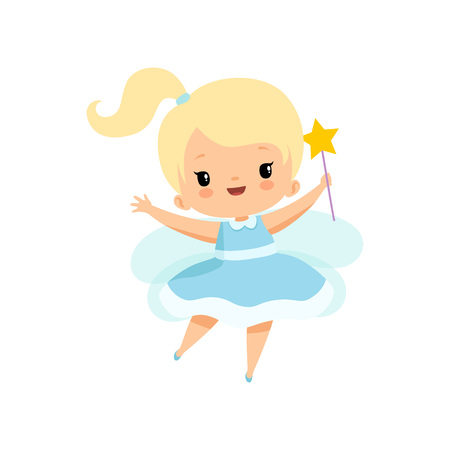 Cute Little Tooth Fairy with Magic Wand, Lovely Blonde Fairy Girl Cartoon Character in Light Blue Dress with Wings Vector Illustration on White Background.