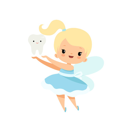 Little Tooth Fairy with Baby Tooth, Cute Blonde Fairy Girl Cartoon Character in Light Blue Dress with Wings Vector Illustration on White Background.