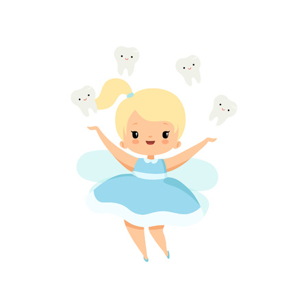 Little Tooth Fairy and Cute Baby Teeth Flying Around Her, Lovely Blonde Fairy Girl Cartoon Character in Light Blue Dress with Wings Vector Illustration on White Background.