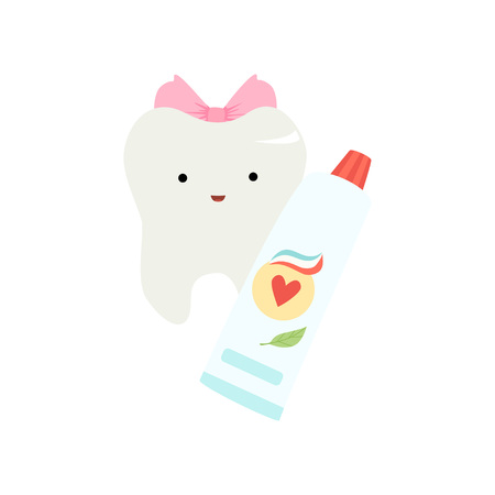Cute Funny Healthy Tooth Cartoon Character with Tube of Toothpaste, Children Teeth Care Vector Illustration on White Background.