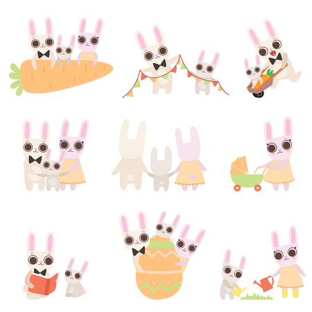 Happy Family of Bunnies Set, Father, Mother and Baby Rabbits Posing Together, Cute Cartoon Hares Characters Vector Illustration on White Background.