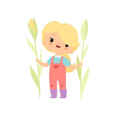 Linda chica joven en monos y botas de goma con maíz en crecimiento, ilustración de Vector de personaje de dibujos animados de chica de granjero sobre fondo blanco.