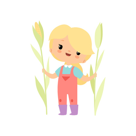 Cute Young Girl in Overalls and Rubber Boots with Growing Corn, Farmer Girl Cartoon Character Vector Illustration on White Background.