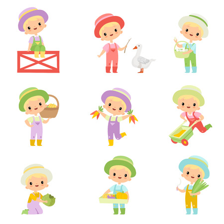Cute Boy in Overalls, Rubber Boots and Hat Engaged in Agricultural Activities Set, Young Farmer Cartoon Character Caring for Plants and Harvesting Vector Illustration on White Background.