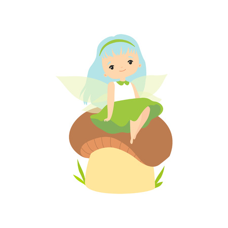 Little Forest Fairy Sitting on Mushroom, Adorable Fairy Girl Cartoon Character with Light Blue Hair and Wings Vector Illustration on White Background.