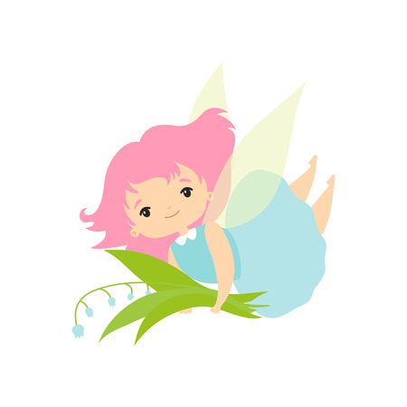 Little Forest Fairy with Bouquet of Lily of Valley, Lovely Fairy Girl Cartoon Character with Green Hair and Wings Vector Illustration on White Background. Ilustracja