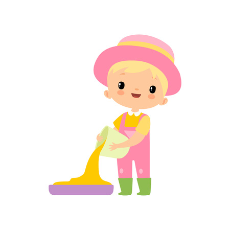 Cute Boy in Overalls, Rubber Boots and Hat Pouring Grain, Young Farmer Cartoon Character Engaged in Agricultural Activities Vector Illustration on White Background.