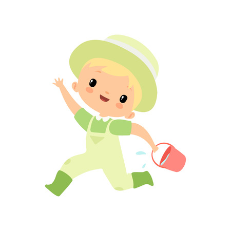 Cute Boy in Overalls, Rubber Boots and Hat Running with Bucket Full of Water, Young Farmer Cartoon Character Engaged in Agricultural Activities Vector Illustration on White Background.