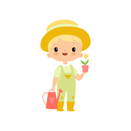 Cute Boy in Overalls, Rubber Boots and Hat with Watering Can and Flower Pot, Young Farmer Cartoon Character Engaged in Agricultural Activities Vector Illustration