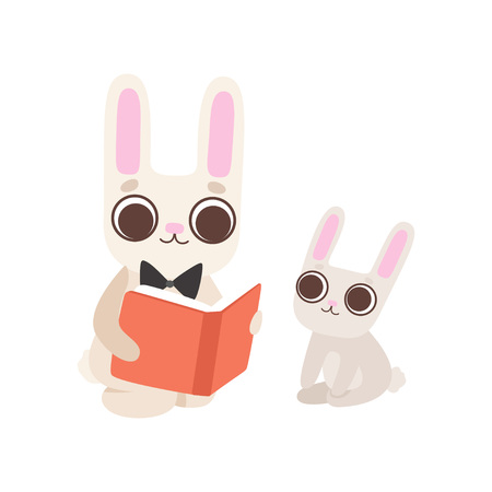 Happy Family of Bunnies, Father Rabbit Reading Book to His Baby, Cute Cartoon Hares Characters Vector Illustration