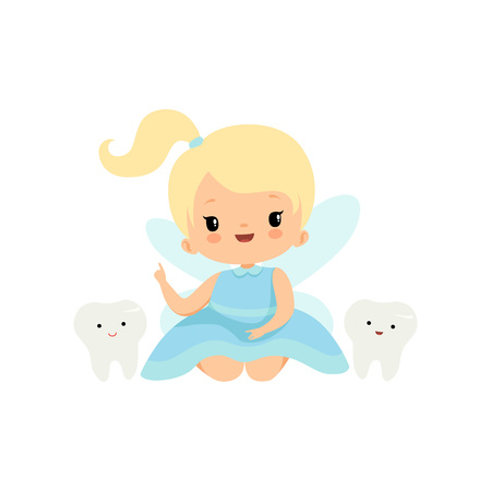 Cute Little Tooth Fairy with Baby Teeth, Lovely Blonde Fairy Girl Cartoon Character in Light Blue Dress with Wings Pointing Finger Up Vector Illustration on White Background.