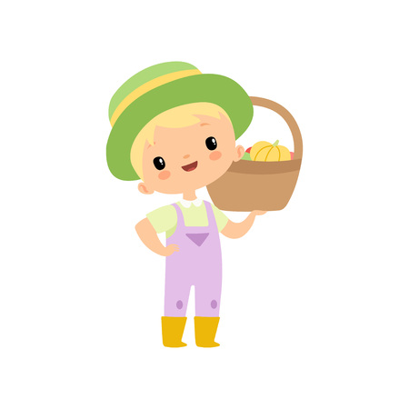 Cute Boy in Overalls, Rubber Boots and Hat with Basket of Fresh Vegetables, Young Farmer Cartoon Character Harvesting Vector Illustration Illustration