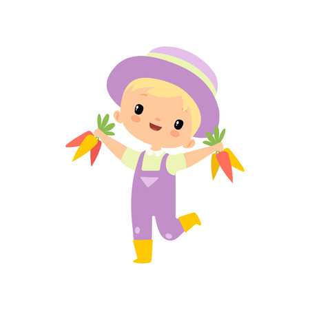 Cute Boy in Overalls, Rubber Boots and Hat with Carrots, Young Farmer Cartoon Character Engaged in Agricultural Activities Vector Illustration Ilustração