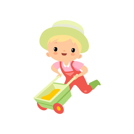 Cute Boy in Overalls, Rubber Boots and Hat Pushing Wheelbarrow, Young Farmer Cartoon Character Engaged in Agricultural Activities Vector Illustration on White Background.