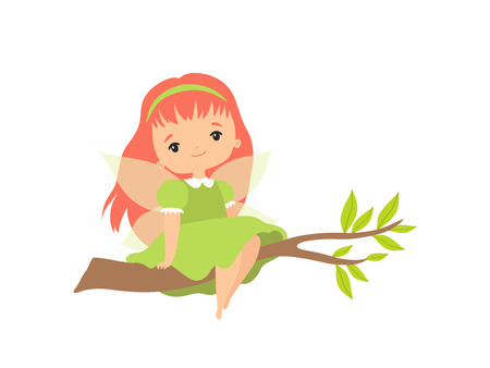 Little Forest Fairy Sitting on Tree Branch, Lovely Fairy Girl Cartoon Character with Red Hair and Wings Vector Illustration on White Background. Foto de archivo - 128163667
