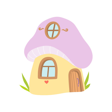Small House Made from Mushroom, Fairytale Fantasy House Vector Illustration