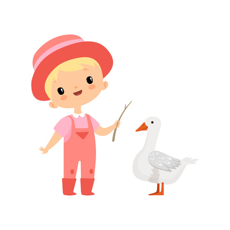 Cute Boy in Overalls, Rubber Boots and Hat Grazing Goose, Young Farmer Cartoon Character Engaged in Agricultural Activities Vector Illustration