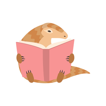 Cute Pangolin Cartoon Character Sitting and Reading Book, Rare Species of Animals Vector Illustration on White Background. Ilustrace