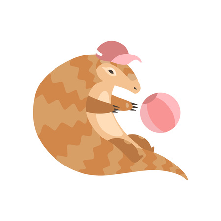 Cute Pangolin Cartoon Character in Pink Baseball Cap Playing with Ball, Rare Species of Animals Vector Illustration on White Background. Иллюстрация