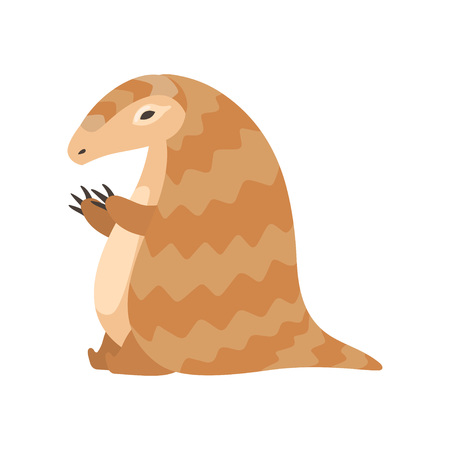 Cute Funny Pangolin Rare Species of Animals Cartoon Vector Illustration on White Background.