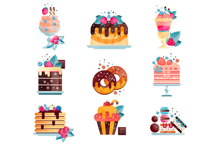 Set of various tasty desserts with gradients and texture. Cakes, cupcake, donuts, ice-cream, pancakes, cookies and macaroons. Sweet food. Isolated flat vector design for promo poster or postcard.