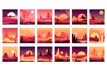 Jeu de cartes vectorielles avec des paysages désertiques occidentaux avec des silhouettes de montagnes rocheuses, de cactus et de lever de soleil au coucher du soleil. Conception en dégradé de couleurs