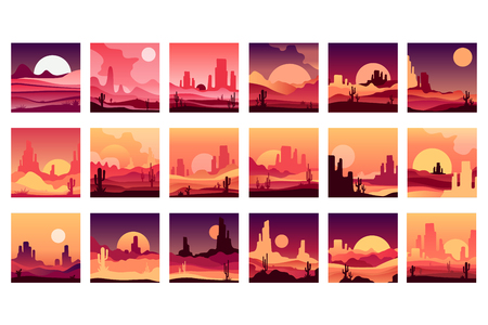 Vector set of cards with western desert landscapes with silhouettes of rocky mountains, cactus plants and sunset sunrise. Design in gradient colors