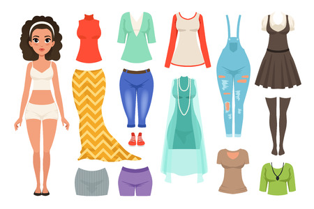 Flat vector set of women s clothes items. Stylish denim overall, blouses, skirts, dresses, stockings. Fashionable female apparel