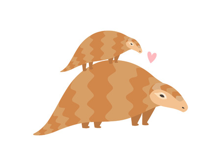 Cute Family of Pangolins, Mother Pangolin and Her Baby Who is Sitting on Her Back, Rare Species of Animals Vector Illustration on White Background.