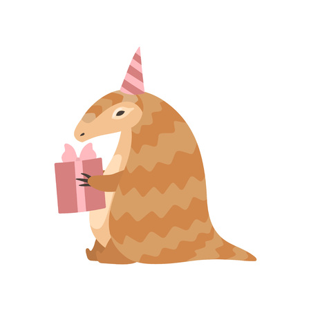 Cute Pangolin Cartoon Character in Party Hat with Gift Box, Rare Species of Animals Vector Illustration on White Background.