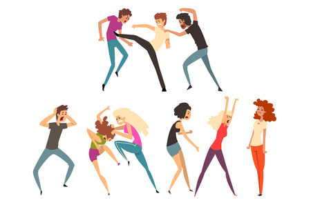 Angry girls and guys fighting and quarreling. Loud public scandal. Uncontrollable and aggressive people. Violent behavior. Cartoon characters of young men and women. Colorful flat vector illustration.