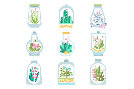 Set of glass vessel with beautiful blooming plant inside. Floral compositions in transparent bottles. Flowers and cactuses. Botanical theme. Colorful flat vector icons isolated on white background.