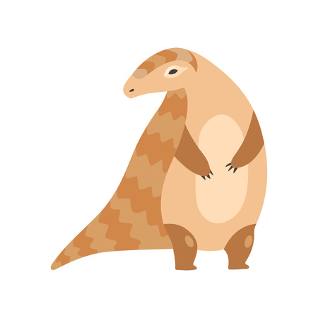 Cute Pangolin Standing on Two Legs, Rare Species of Animals Cartoon Vector Illustration on White Background. Illusztráció