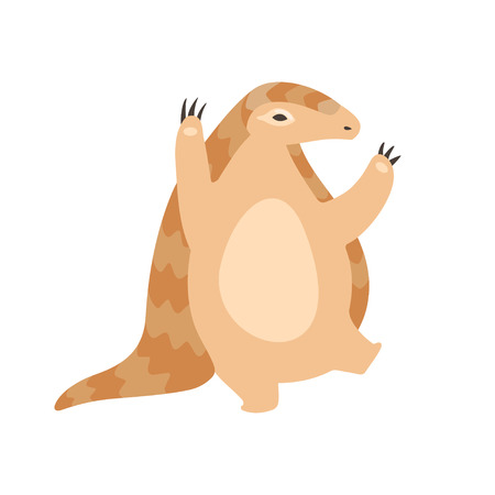 Cute Pangolin Cartoon Character Standing on Two Legs, Rare Species of Animals Vector Illustration on White Background. Illustration