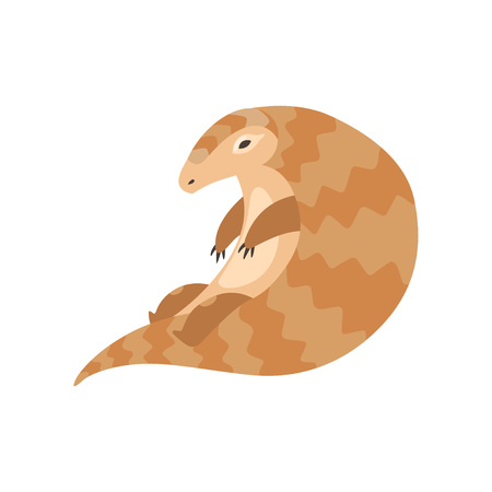 Cute Sitting Pangolin Rare Species of Animals Cartoon Vector Illustration on White Background.