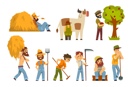 Farmers at work set, farm worker with gardening equipment vector Illustrations isolated on a white background. Illustration