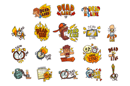 Collection of signs with Deadline word, time limit, stress and burnout symbols vector Illustration isolated on a white background. Vecteurs