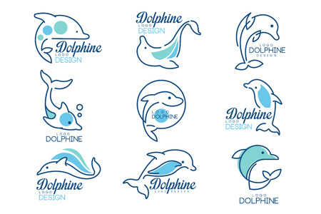 Dolphine templates set, nautical design elements in blue colors vector Illustrations on a white background