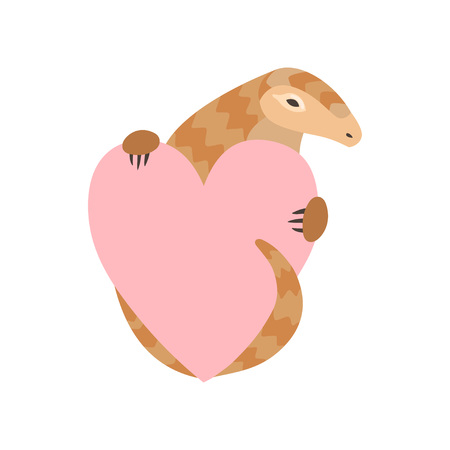 Cute Pangolin Cartoon Character Holding Pink Heart, Rare Species of Animals Vector Illustration on White Background.