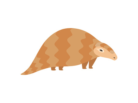 Cute Pangolin Animal, Side View Cartoon Vector Illustration on White Background.