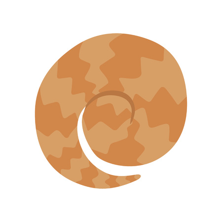 Cute Pangolin Curled Up, View From Above, Rare Species of Animals Cartoon Vector Illustration on White Background.