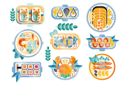 Set of various seafood dishes on plates. Boiled crab, mussels, shrimps, salmon, tuna, sushi and sandwiches with caviar. Colored textured icons. Flat vector illustrations isolated on white background. Illustration