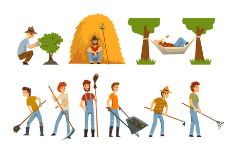 Farmers set, farm workers with gardening tools, gardeners at work vector Illustrations isolated on a white background.