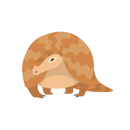 Pangolin Rare Species of Animals Cartoon Vector Illustration on White Background.