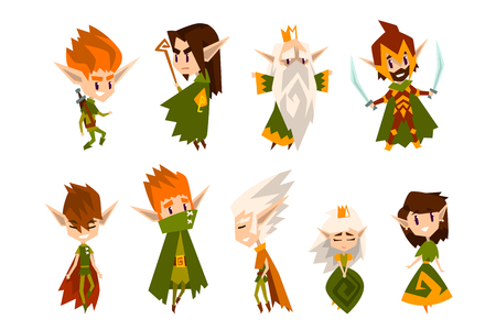 Forest elves set, fairytale magic characters in green clothes vector Illustrations isolated on a white background. Foto de archivo - 128163706