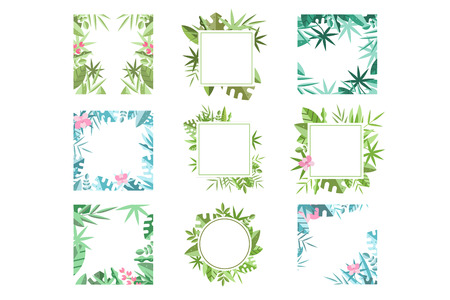 Set of bright green and blue frames made of various tropical leaves. Natural or botanical theme. Floral borders. Design for invitation, greeting card or mobile app. Isolated flat vector illustration.