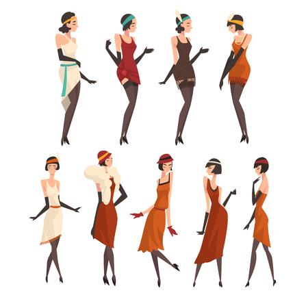 Elegant Women in Retro Dresses, Black Stockings and Gloves Set, Beautiful Flapper Girls of 1920s, Art Deco Style Vector Illustration on White Background. Иллюстрация
