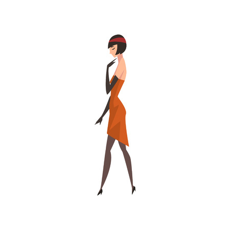 Elegant Brunette Woman in Red Retro Dress, Beautiful Flapper Girl of 1920s, Art Deco Style Vector Illustration