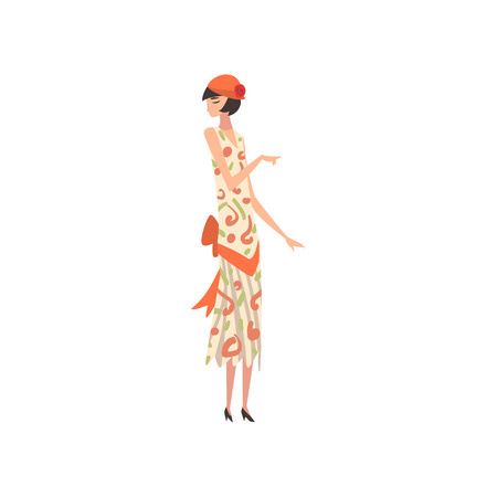 Elegant Woman in Summer Retro Dress and Hat, Beautiful Girl of 1920s, Art Deco Style Vector Illustration on White Background. Иллюстрация